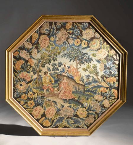 Very Unusual 1720 English Octagonal Needlework - R16476