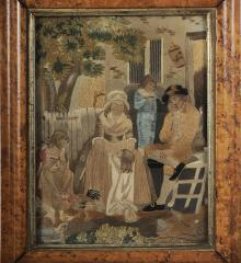 """Painted Face"" Silk Needlework of Outdoor Family Scene - R14412"