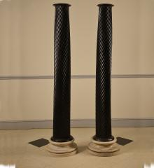 Pair of Ebonized Solid Mahogany Columns  - R15141