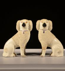 Pair of Staffordshire Sitting Poodles - R15308