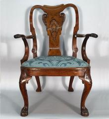 "George I ""Seaweed"" Inlaid Walnut Open Armchair - R16479"